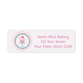 Padaria cor-de-rosa do cupcake etiqueta endereço de retorno