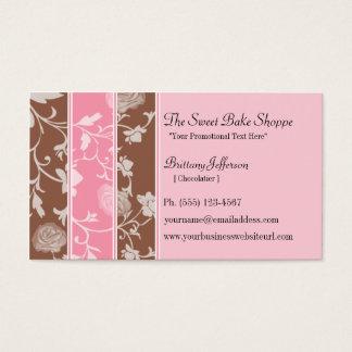 Padaria cor-de-rosa do doce dos rosas do chocolate cartão de visitas