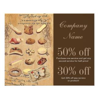 padaria francesa dos biscoitos da pastelaria do flyer 11.43 x 14.22cm