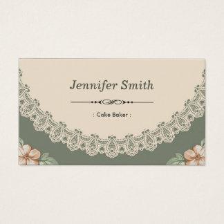 Padeiro do bolo - chique do vintage floral cartão de visitas
