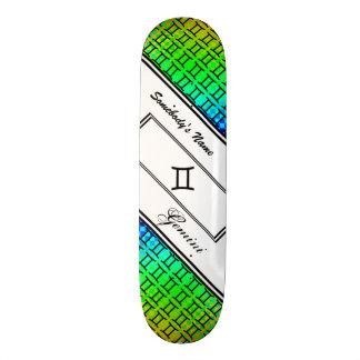 Padrão do símbolo do zodíaco dos Gêmeos Shape De Skate 18,4cm