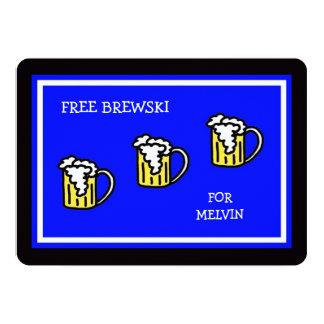 Padrinhos de casamento azuis com Brewski Convite 12.7 X 17.78cm