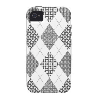 Padrões clássicos brancos pretos na moda retros de capas para iPhone 4/4S