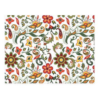 Padrões florais decorativos cartao postal