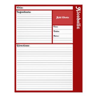 Página alinhada da receita (obscuridade - vermelho flyer 21.59 x 27.94cm