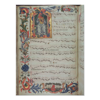 Página da notação musical com historiated posteres
