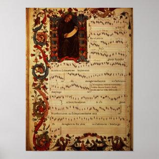 Página da notação musical com historiated posters