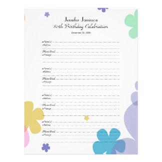 página do login do livro de hóspedes da festa de papeis de carta personalizados