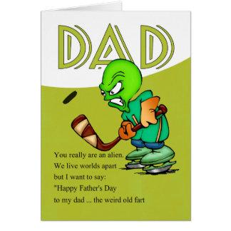 Pai, alienígena cómico do hóquei do dia dos pais cartão comemorativo