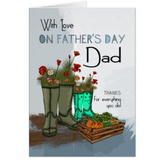 Pai, cartão do dia dos pais com botas de chuva