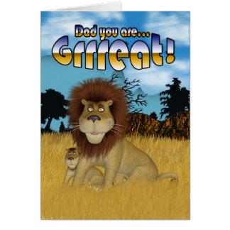 Pai, cartão do dia dos pais - leão e Cub