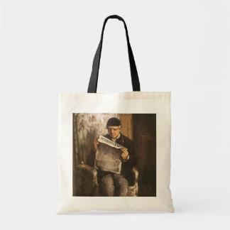 Pai da leitura por Cezanne, belas artes do artista Bolsa De Lona