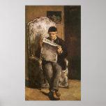 Pai da leitura por Cezanne, belas artes do artista Poster