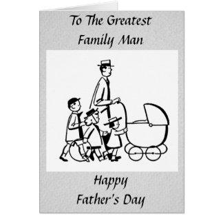 Pai de família retro do dia dos pais cartão comemorativo