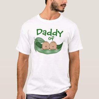 Pai de meninos gêmeos (pele escura) camiseta