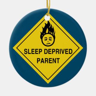 Pai destituído sono ornamento de cerâmica redondo