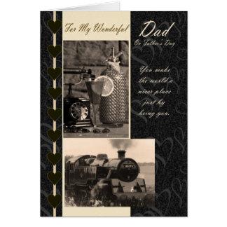 Pai do cartão do dia dos pais, com trens