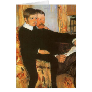 Pai do vintage e retrato da família do filho por cartao