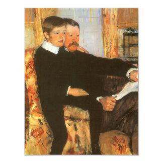 Pai do vintage e retrato da família do filho por convites personalizados