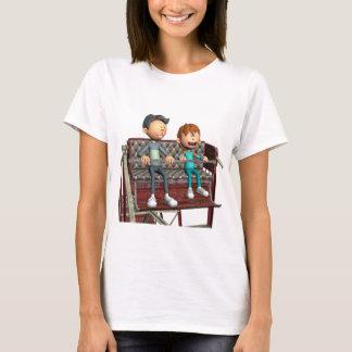 Pai e filho dos desenhos animados em uma roda de camiseta