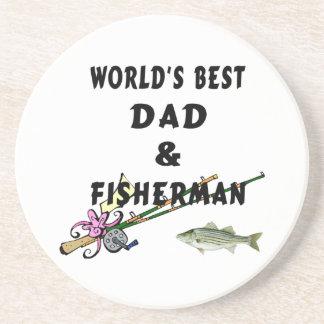 Pai e pescador porta copos de arenito