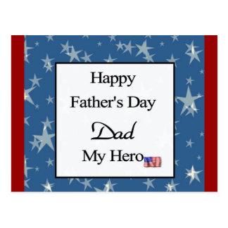 Pai feliz do dia dos pais meu herói cartão postal