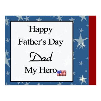 Pai feliz do dia dos pais meu herói cartao postal