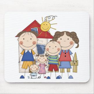 Pai, mamã, menino, menina, família do bebé mouse pad