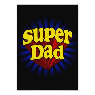 Pai super, super-herói vermelho/amarelo/azul convite 12.7 x 17.78cm