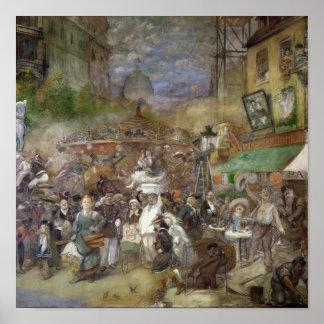 Painel decorativo que descreve Paris Pôster