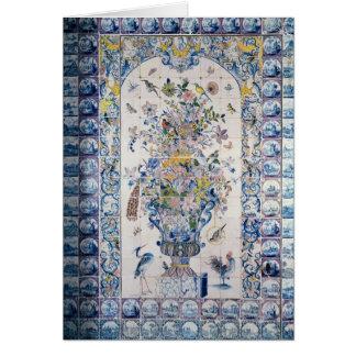 Painel do azulejo de Delft do banheiro Cartão Comemorativo