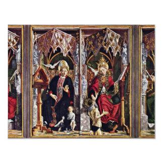 Pais da vista geral do altar da igreja por Pacher Convite 10.79 X 13.97cm