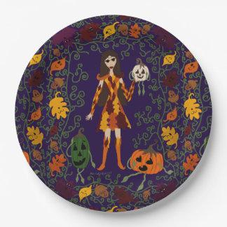 País das fadas do outono prato de papel