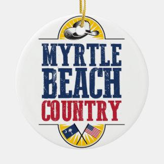 País de Myrtle Beach Ornamento De Cerâmica Redondo