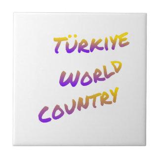 País do mundo de Türkiye, arte colorida do texto