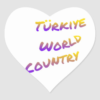 País do mundo de Türkiye, arte colorida do texto Adesivo Coração