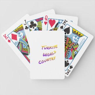 País do mundo de Türkiye, arte colorida do texto Baralhos Para Pôquer