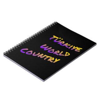 País do mundo de Türkiye, arte colorida do texto Cadernos