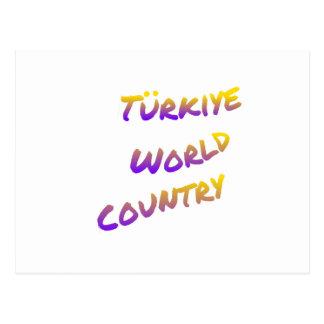 País do mundo de Türkiye, arte colorida do texto Cartão Postal