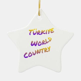País do mundo de Türkiye, arte colorida do texto Ornamento De Cerâmica