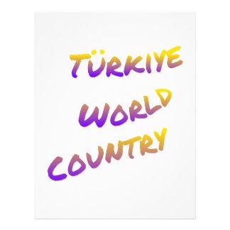 País do mundo de Türkiye, arte colorida do texto Papel Timbrado