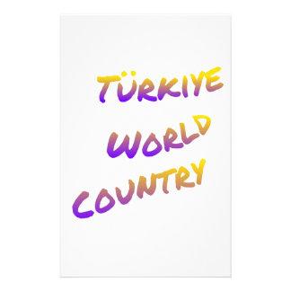 País do mundo de Türkiye, arte colorida do texto Papelaria
