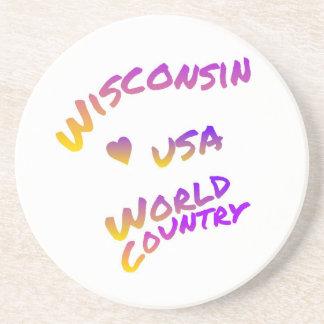 País do mundo de Wisconsin EUA, arte colorida do Porta Copos De Arenito