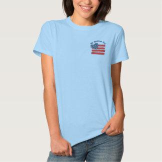 País EUA Camiseta Polo Bordada Feminina