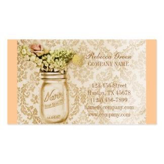 país floral elegante do frasco de pedreiro do dama modelo de cartões de visita