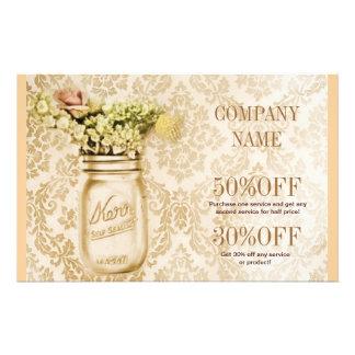 país floral elegante do frasco de pedreiro do dama panfleto