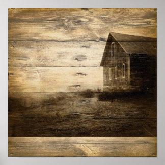país ocidental da casa da quinta do woodgrain rúst impressão