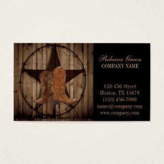 país ocidental de botas de vaqueiro do woodgrain cartão de visitas