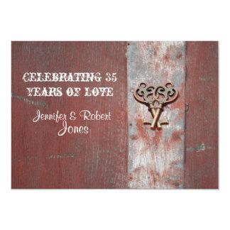 País pintado de madeira com aniversário da chave convite 12.7 x 17.78cm