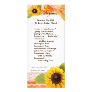 país rústico do girassol do programa do casamento 10.16 x 22.86cm panfleto
